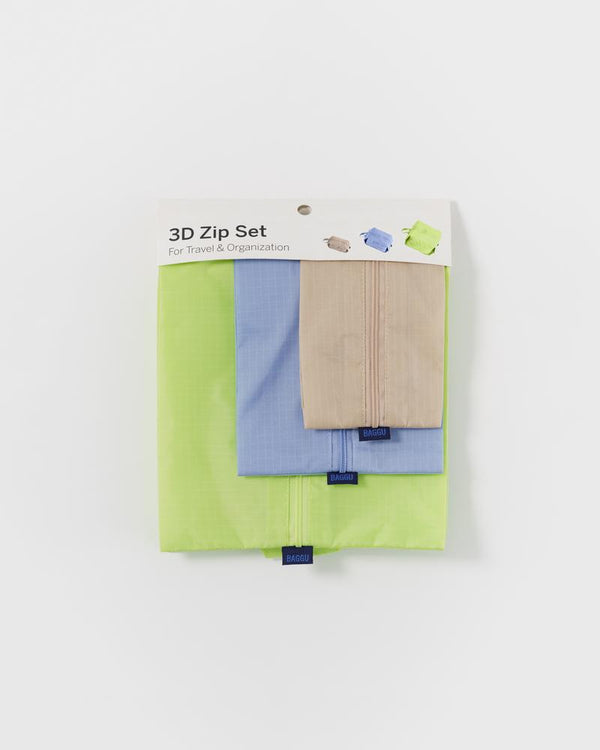 Simple, durable, and lightweight - this set of three bright yet subtle zippered pouches by Baggu are perfect for travel and home organization.