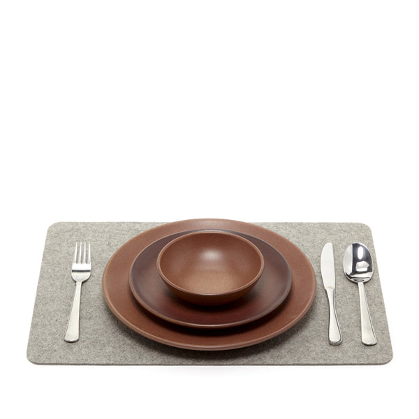 Modern, simple, minimalist merino wool felt placemat by Los Angeles-based Graf Lantz, made in USA at Port of Raleigh