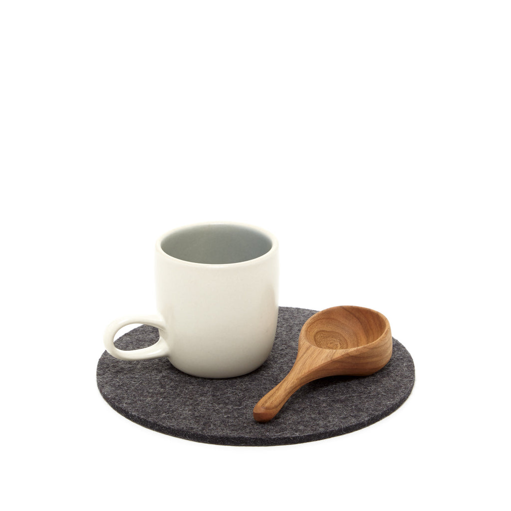 Simple modern round merino wool felt trivet made in USA by Los Angeles-based Graf Lantz  at Port of Raleigh