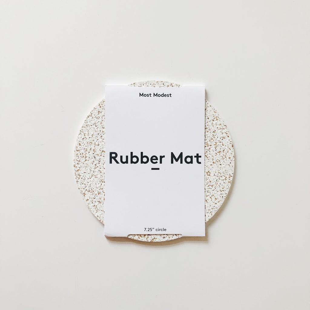 Rubber and cork fused mats from Most Modest. Naturally pressurized, these mats form a speckled, anti-slip surface perfect for functioning as a mouse pad, trivet, bedside table mat, or any other home and office need. at Port of Raleigh