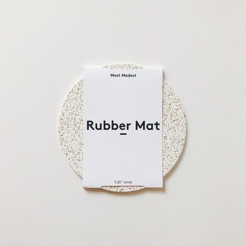Rubber and cork fused mats from Most Modest. Naturally pressurized, these mats form a speckled, anti-slip surface perfect for functioning as a mouse pad, trivet, bedside table mat, or any other home and office need.
