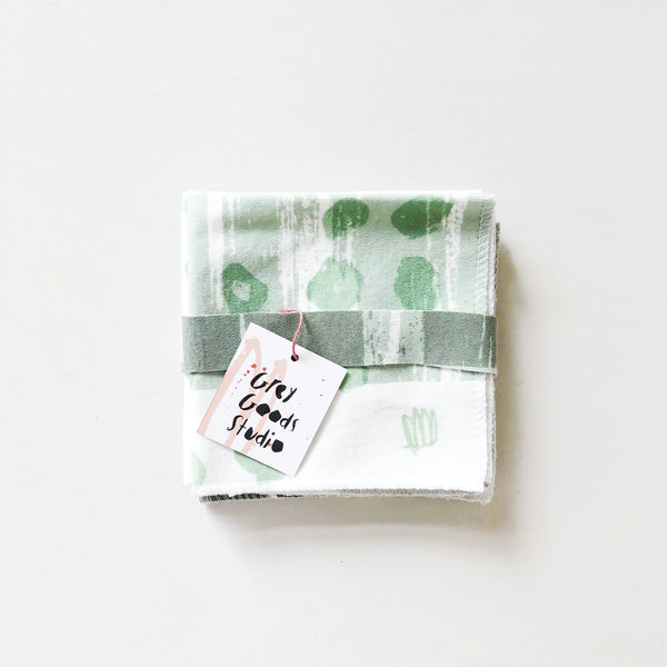 Everyday napkins set of 4 with hand screen printed art on organic cotton knit 10