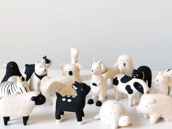 PolePole wood animals by T-Lab Japan. Simple minimalist and lightweight wood animals in black and white  at Port of Raleigh
