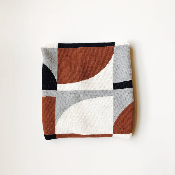 Quarter Circles Cotton Throw Blanket, Cinnamon