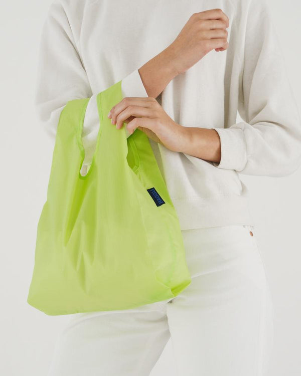 Baby Baggu reusable bag in Lime color made of ripstop nylon by Baggu