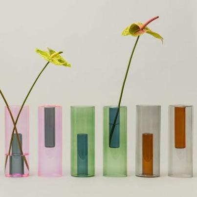 Colorful two-way glass vase for versatile floral display. Made of Borosilicate glass in UK by Block Design
