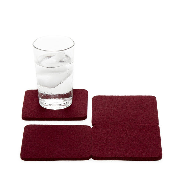 Merino Wool Felt Coaster, Square 4 Pack