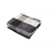 Check Throw Wool Blanket, Creme/Black
