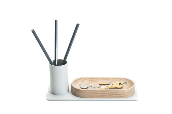 minimal desktop organizer with powder coated pencil holder and wood tray in one made in USA by Most Modest at Port of Raleigh