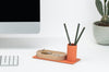 minimal desktop organizer with powder coated pencil holder and wood tray in one made in USA by Most Modest