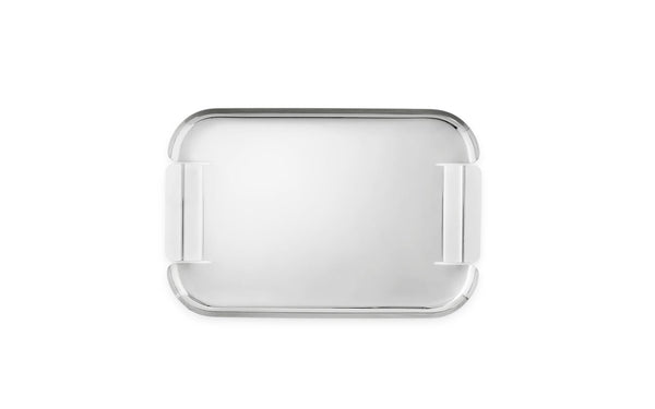 "Taking simple and timeless stainless steel and transforming it, the Force Tray from Normann Copenhagen continues the tradition of the classic serving tray. Cut and formed from a single piece of steel, the organic structure with a ""hard"" material gives a balanced look of both endearing and strong -- a great tray for serving mixed drinks."