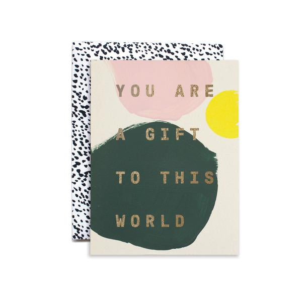 For that person who means the world, give this hand painted card. Made in Iowa with gold foil by Moglea Studio. at Port of Raleigh