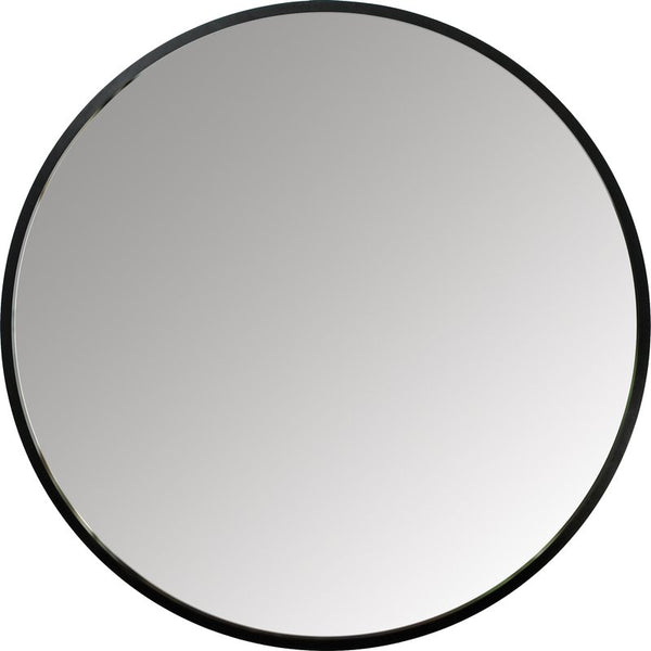 "Modern, simple, and minimalist 37"" round wall mirror in matte black rubber frame by Umbra"