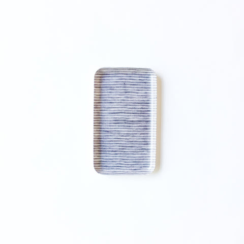 Linen Resin Tray Grey White Stripe