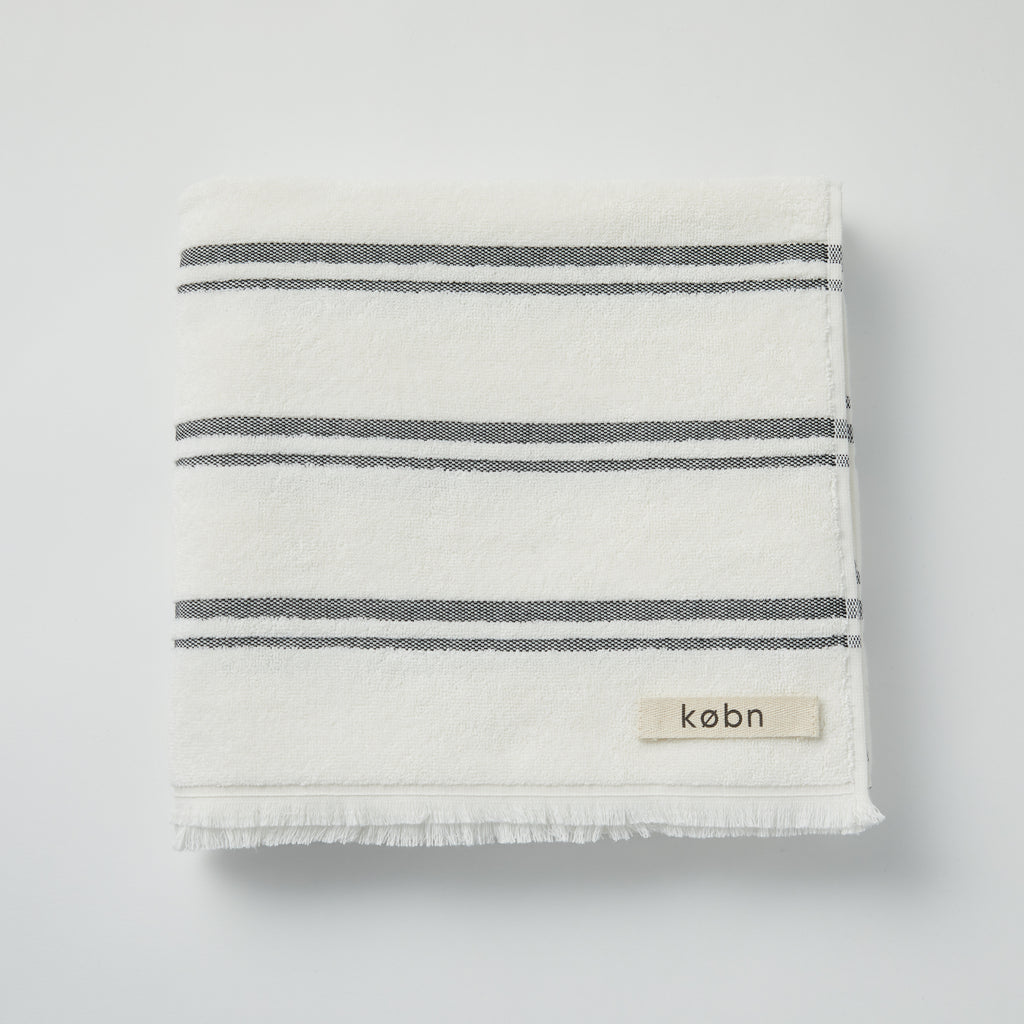 Modern beach / pool towel in Turkish towel plain weave with terry loops on the reverse side. Designed in Australia and made in Turkey, features stripes and fresh modern colors. at Port of Raleigh