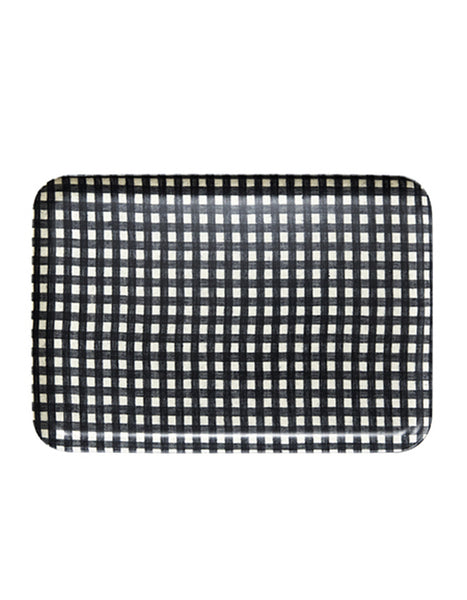 Linen Resin Tray Black White Check at Port of Raleigh