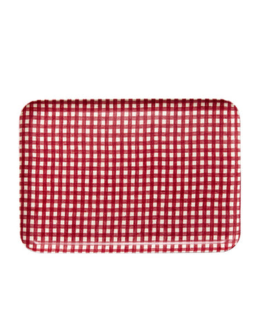 Linen Resin Tray, Red White Check