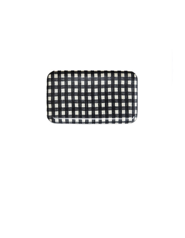 Linen Resin Tray Black White Check