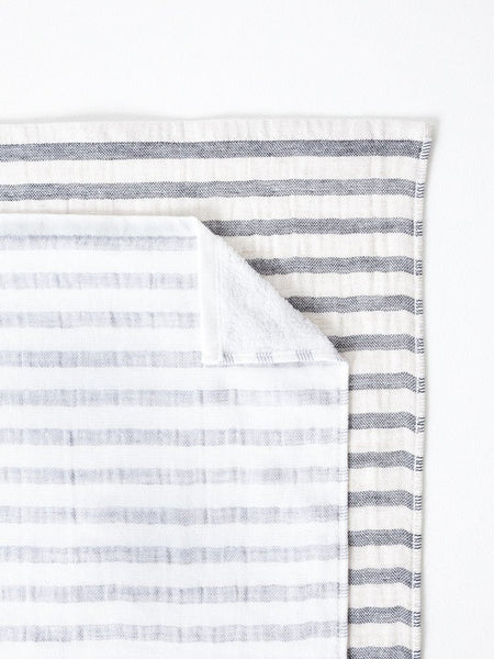 Black Striped Linen Towel at Port of Raleigh
