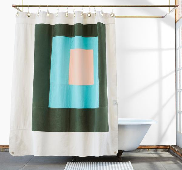 Minimalist modern graphic shower curtain in cotton canvas made in USA by Quiet Town at Port of Raleigh