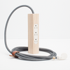 Simple modern 10ft power cable with solid white ash wood and knitted nylon by Most Modest at Port of Raleigh