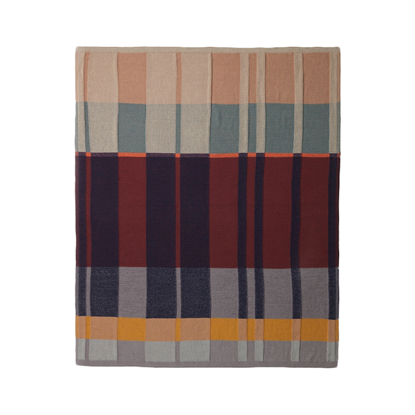 Medley multi-color cotton knit blanket in contemporary colors by Ferm Living Danish design at Port of Raleigh