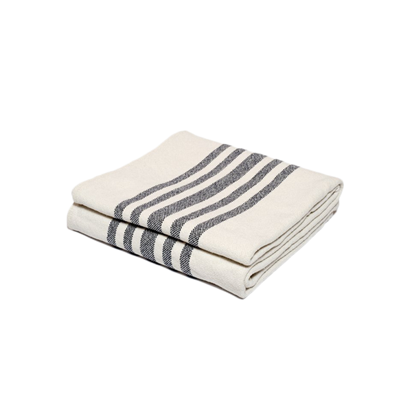 Heirloom quality minimalist cotton throw blanket with grey stripes design made in Maine USA by Harlow Henry