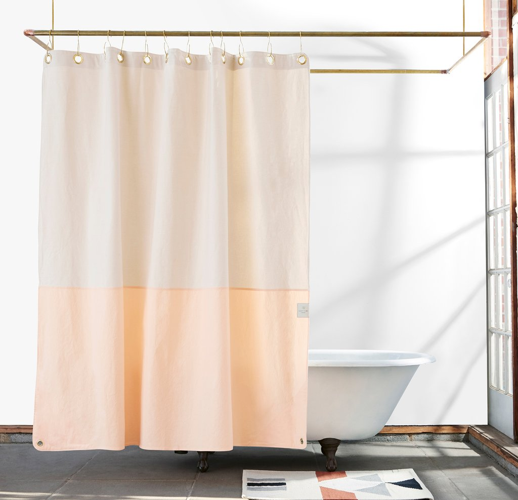 Minimalist Modern Graphic Shower Curtain In Cotton Canvas Made USA By Quiet Town At Port