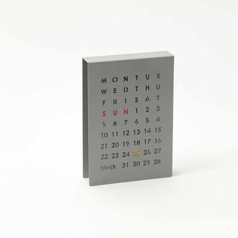 Modern and simple perpetual calendar for desktop workspace or decor designed by Block in the UK