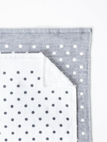 Grey Polka Dot Chambray Towel