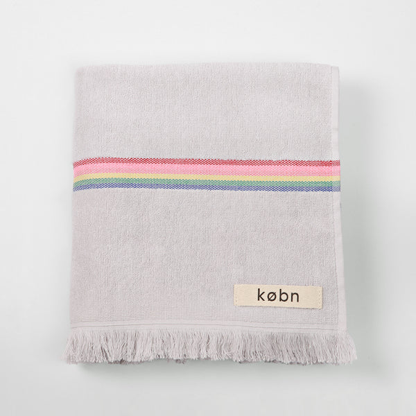 Modern striped Købn towels for bath, pool, beach. Perfect kids towels in modern fresh colors with soft terry loop face and plain weave back. Designed in Australia, made in Turkey by Kobn. at Port of Raleigh