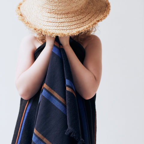 Modern striped Købn towels for bath, pool, beach. Perfect kids towels in modern fresh colors with soft terry loop face and plain weave back. Designed in Australia, made in Turkey by Kobn.