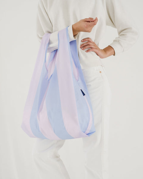Minimalist reusable ripstop nylon bag by Baggu. Perfect for packing your day's groceries, lunch, or any everyday essentials. Now in Cornflower Stripe for Spring. at Port of Raleigh