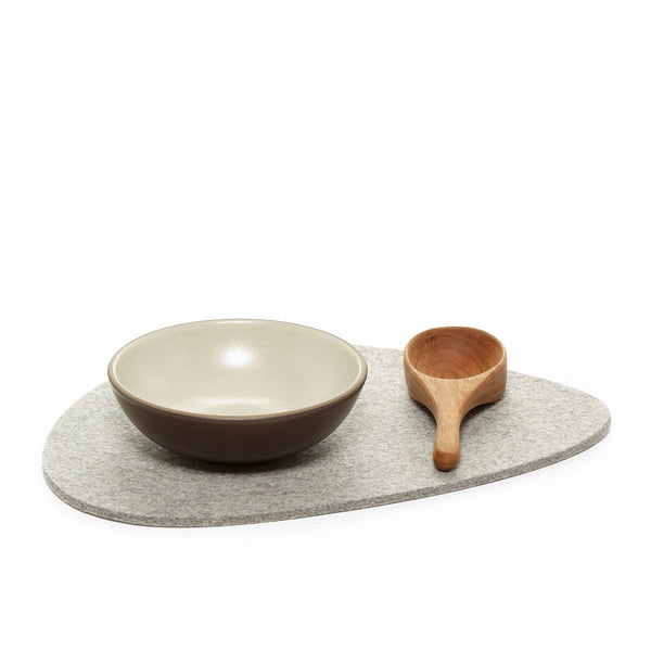 Merino wool felt trivet in an organic stone design, made in USA by Graf Lantz at Port of Raleigh