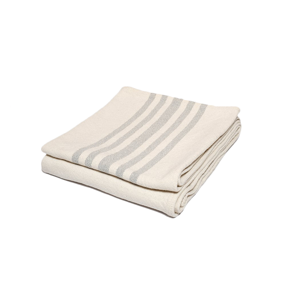 Heirloom quality minimalist cotton throw blanket with grey stripes design made in Maine USA by Harlow Henry at Port of Raleigh