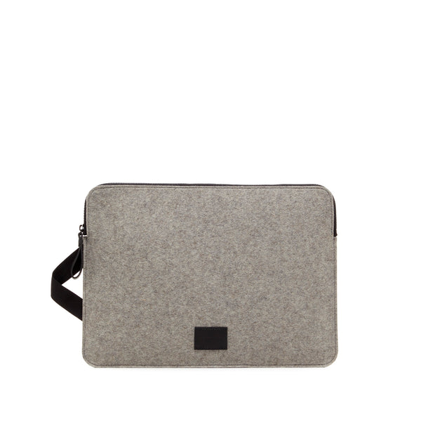 Modern minimalist Macbook Pro carrying case made in USA of durable merino felt wool by Graf Lantz at Port of Raleigh