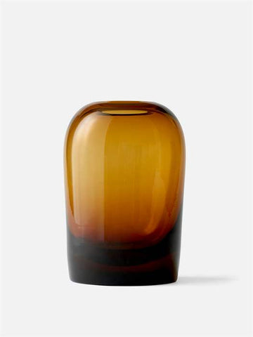 Modern mouth-blown glass Troll Vases in amber by danish design studio MENU