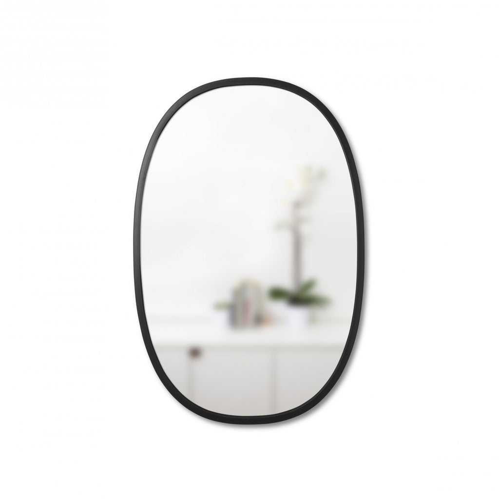 Simple oval wall mirror with thin black rubber trim for entryway, living space, or bathroom. Hangs vertically or horizontally. By Umbra at Port of Raleigh