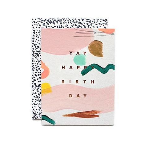 Wish the happiest of birthdays with this shape scattered card from Iowa based studio, Moglea. Hand painted and hand stamped, and it comes with a black and white patterned envelope.