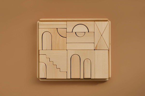 modern designed blocks made in the shapes of living spaces. minimal, imaginative, and open-ended, perfect for expanding the minds of little ones. Handmade in Russia by Raduga Grez.