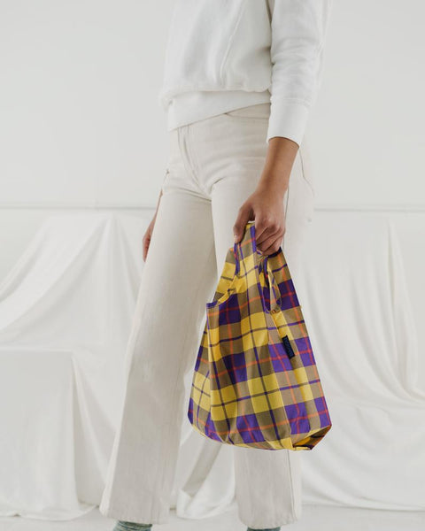 Baby Baggu resuable shopping bag in a tartan plaid print for everyday use from carrying groceries, travel, lunch tote, or children's items. at Port of Raleigh