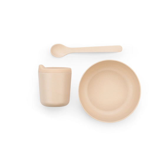 The perfect set for baby's first days of solid food, the Bambino Dish Set is made of Bamboo fibre, and is sturdy and durable. Each set comes with a bowl, spoon, and cup with a removable silicone spout. Designed in France by Ekobo, and available in three different color sets.