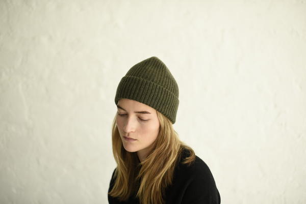 Knit beanie made from 100% Scottish ribbed knit cashmere. Perfect for cold days and adding a colorful touch to your outfits. made in USA. at Port of Raleigh