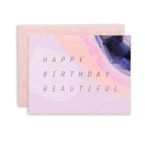 Wish a happy birthday with this simply modern painted card. Hand painted and foil stamped in Iowa by Moglea Studio.