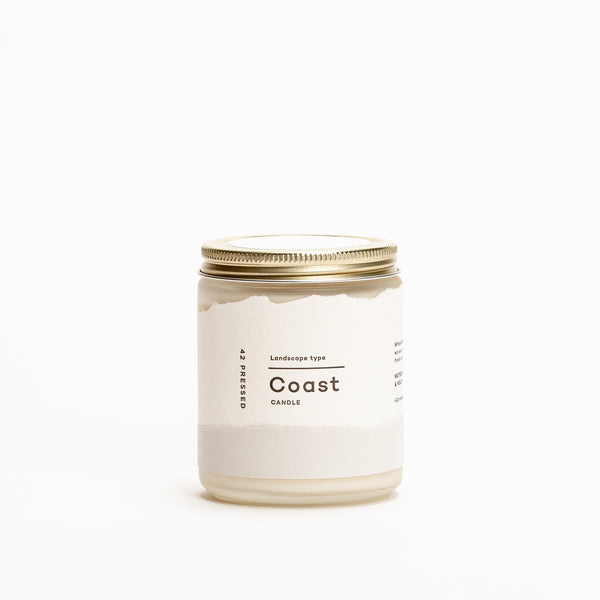 Let the thoughtful scent notes of Salt, Bergamot, Sea Grass and Kelp take you to the seaside. Soy wax and essential oils made in USA by 42 Pressed.