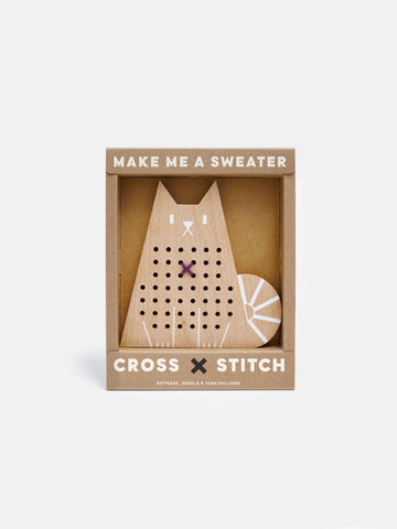 This Cat cross stitch craft kit comes with 100% wool yarn in two tones, a safe plastic needle & a play booklet with tutorial and patterns. by Moon Picnic