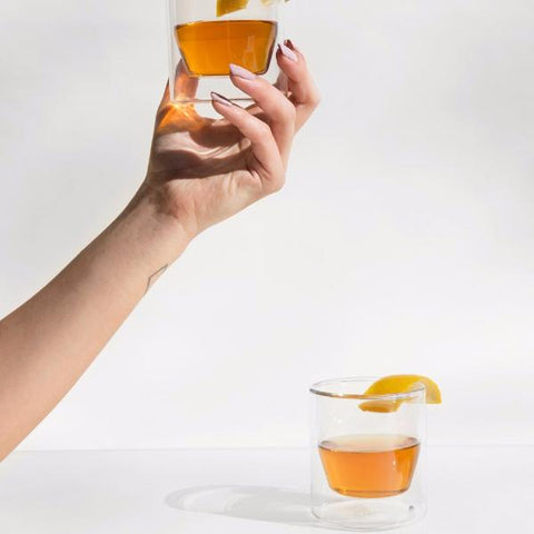 Modern double-wall borosilicate glass set of two for hot and cold drinks by American design studio Yield