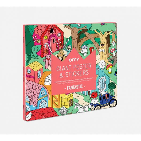 Explore the imaginary world of fantastic with stickers and a giant poster. Using fun and detailed illustrations, experience the humorous scenes of castles, candy, and funny characters. Made in France by Omy creative studio, this is the perfect activity for children at play or family night fun.