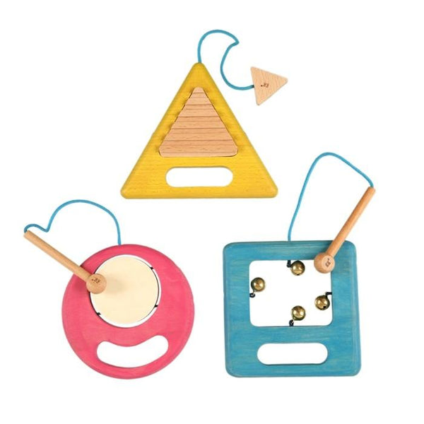 Set of three wooden musical toys designed to engage children's senses. Each toy makes a different noise, and comes with an attached mallet. Made in Japan.
