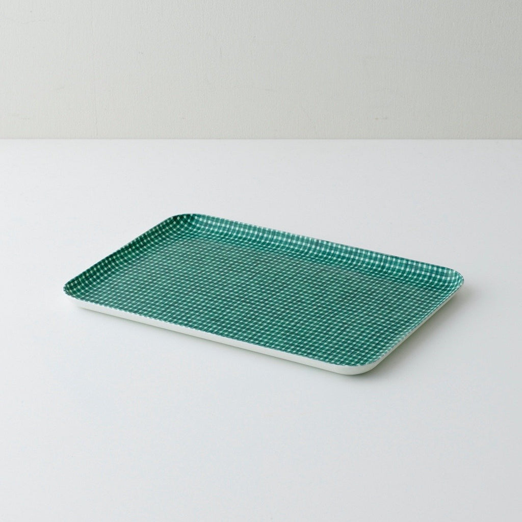 Linen resin tray for serving or organizing made of lithuanian linen fabric set in resin, designed in Japan by Fog Linen at Port of Raleigh